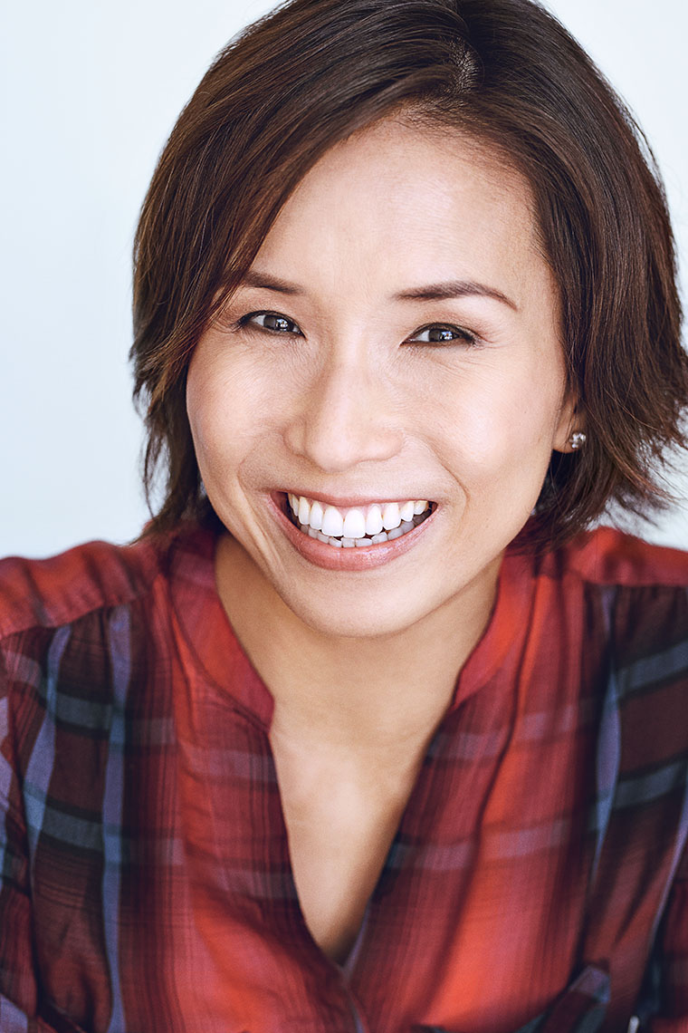 Actor Tora Kim in a bright and clean commercial headshots for auditions.